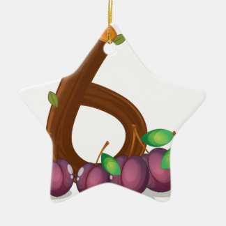 Six violet colored fruits ceramic ornament