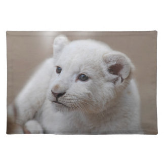 Six week old white baby lion cub cloth placemat