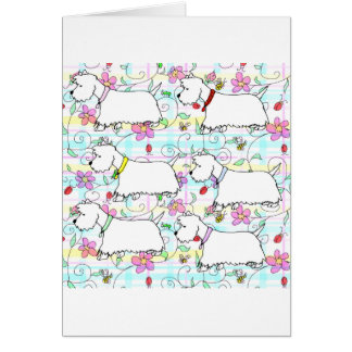 Six Westies in a spring plaid Card