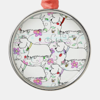 Six Westies in a spring plaid Metal Ornament