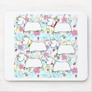 Six Westies in a spring plaid Mouse Pad