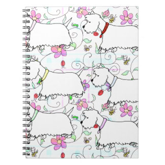 Six Westies in a spring plaid Notebook