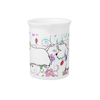 Six Westies in a spring plaid Pitcher