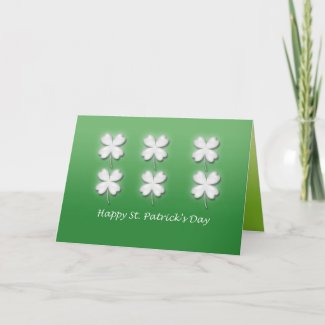 Six White Shamrocks St. Patrick's Day Card