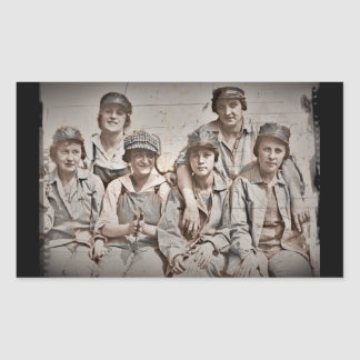 Six Women Workers on the Wharf WWII Rectangular Sticker