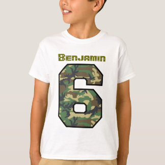 Six Year Old 6th Birthday Camo Custom Name V032 T-Shirt