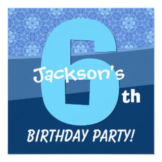 Six Year Old Birthday Blue Pattern For Boy V06E1 Card