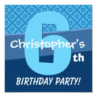 Six Year Old Birthday Blue Pattern For Boy V06E Card