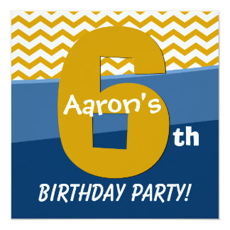 Six Year Old Birthday Gold Pattern For Boy V06E2 Card