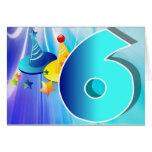 Six Year Old Blue Birthday Card