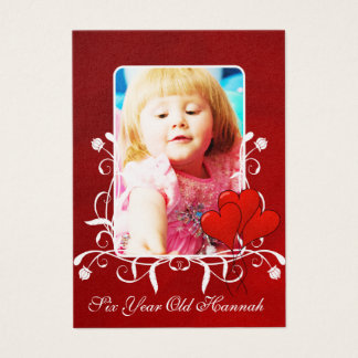 Six Year Old  Girls Birthday Photo Card Red Hearts