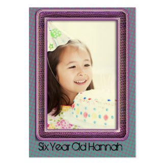 Six Year Old Girls Birthday Photo Cards Business Card Templates