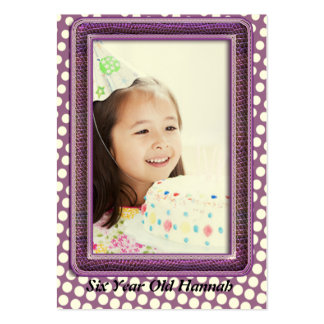 Six Year Old  Girls Birthday Photo Cards Large Business Card