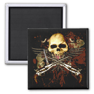 Sixguns with skull 2 inch square magnet