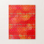 Sixteen colored hearts jigsaw puzzle