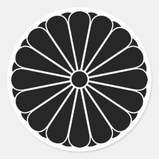 Sixteen-double-petaled chrysanthemum classic round sticker