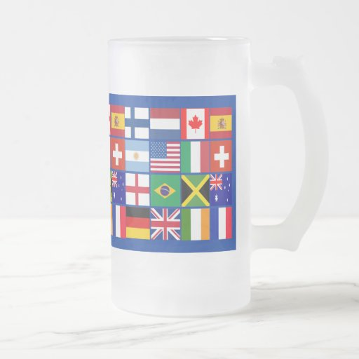 Sixteen Flags of Many Nations T-shirts, Mugs, More 16 Oz Frosted Glass Beer Mug