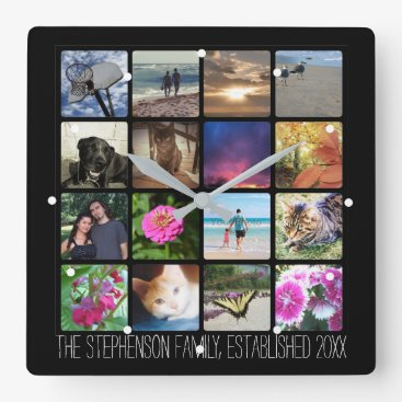 Sixteen Rounded Corners Photo Collage or Instagram Square Wall Clock