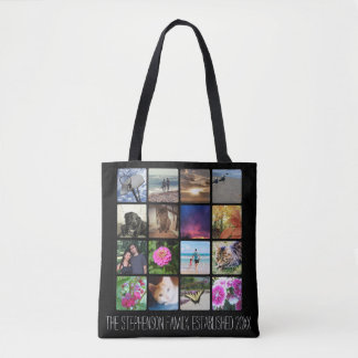 Sixteen Rounded Corners Photo Collage or Instagram Tote Bag