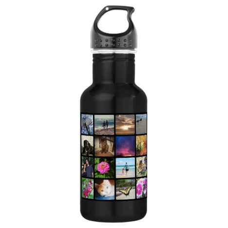 Sixteen Rounded Corners Photo Collage or Instagram Water Bottle
