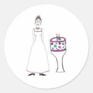 Sixteenth Birthday Classic Round Sticker