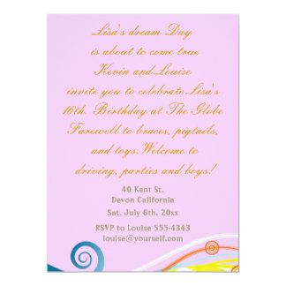 Sixteenth Birthday invitation. Card