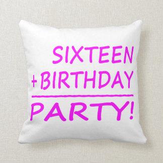 Sixteenth Birthdays : Sixteen + Birthday = Party Throw Pillow