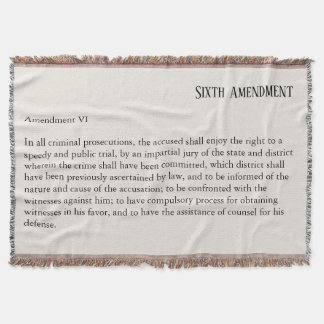 Sixth Amendment Constitution Bill of Rights Throw Blanket