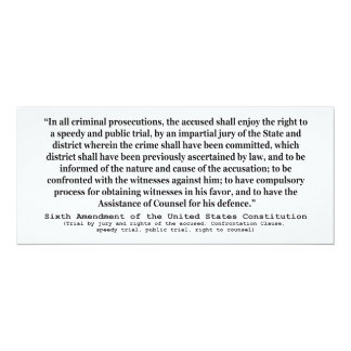 Sixth Amendment to the United States Constitution Card