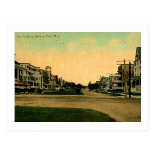 Sixth Ave Asbury Park New Jersey Vintage Postcard