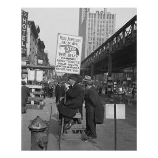 Sixth Avenue Sign Man, 1937 Poster
