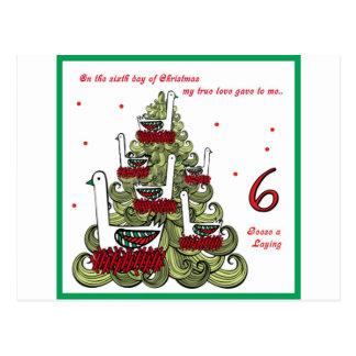 Sixth Day of Christmas Postcard