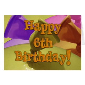 Sixth happy birthday balloons 6th card