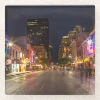Sixth Street At Dusk In Downtown Austin, Texas Glass Coaster