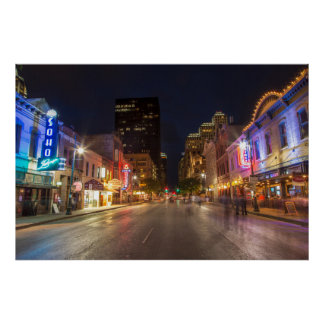 Sixth Street At Dusk In Downtown Austin, Texas Poster