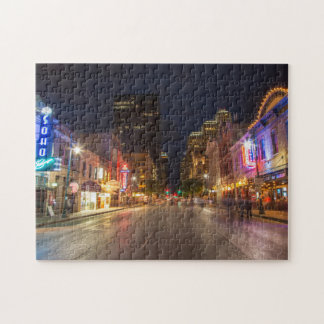 Sixth Street At Dusk In Downtown Austin, Texas Puzzle