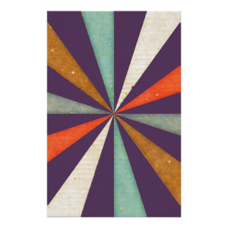 Sixties 5 Colors Swirl On Acai Violet Background Stationery Design