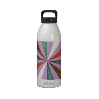Sixties 5 Colors Swirl On African Violet Pattern Reusable Water Bottles