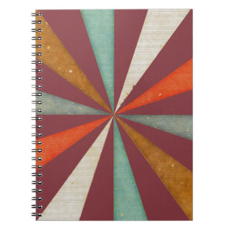 Sixties 5 Colors Swirl On Aged Cabernet Background Note Book