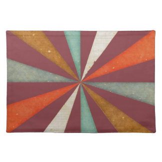 Sixties 5 Colors Swirl On Aged Cabernet Background Placemats