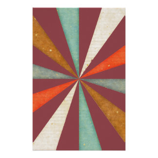 Sixties 5 Colors Swirl On Aged Cabernet Background Stationery Paper