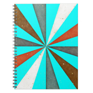 Sixties 5 Colors Swirl On Aquamarine Blue Pattern Spiral Note Book