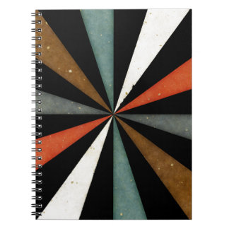 Sixties 5 Colors Swirl On Black Background Notebook