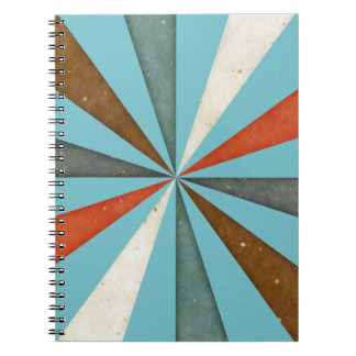 Sixties 5 Colors Swirl On Blue Curacao Background Notebook