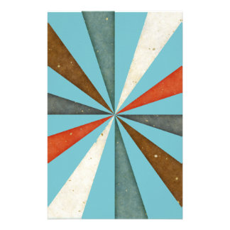 Sixties 5 Colors Swirl On Blue Curacao Background Custom Stationery