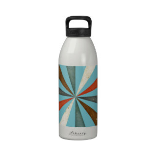Sixties 5 Colors Swirl On Blue Curacao Background Water Bottles
