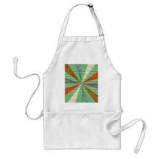 Sixties 5 Colors Swirl On Grass Green Background Adult Apron