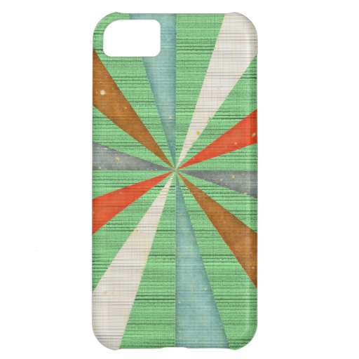 Sixties 5 Colors Swirl On Grass Green Background iPhone 5C Covers
