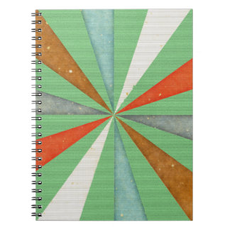 Sixties 5 Colors Swirl On Grass Green Background Notebooks