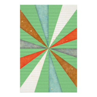Sixties 5 Colors Swirl On Grass Green Background Stationery
